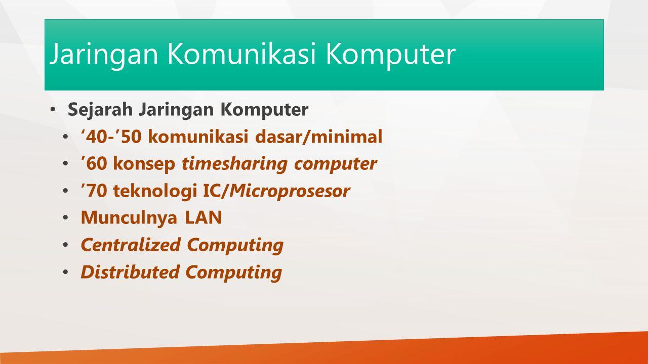 Jaringan Komunikasi Komputer Sejarah Jaringan Komputer '40-'50 komunikasi dasar/minimal '60 konsep timesharing computer '70 teknologi IC/Microprosesor Munculnya LAN Centralized Computing Distributed Computing