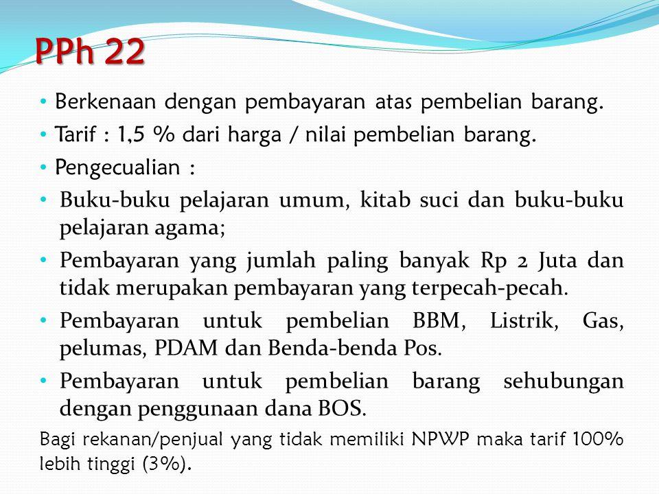 PPh 21 – Pegawai Tidak Tetap Honorer bulanan: 1.