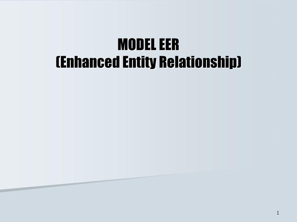 2 KONSEP MODEL EER Model Enhanced Entity Relationship (EER) = Model Entity Relationship (ER) Model Entity Relationship (ER)+ konsep spesialisasi, generalisasi konsep spesialisasi, generalisasi dan kategorisasi