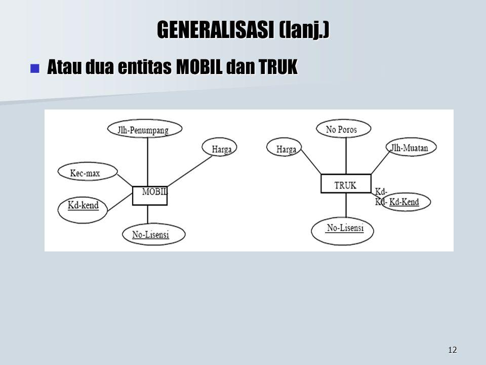 12 GENERALISASI (lanj.) Atau dua entitas MOBIL dan TRUK Atau dua entitas MOBIL dan TRUK