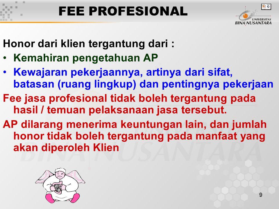 9 FEE PROFESIONAL Honor dari klien tergantung dari : Kemahiran pengetahuan AP Kewajaran pekerjaannya, artinya dari sifat, batasan (ruang lingkup) dan