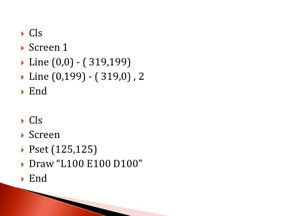  Cls  Screen 1  Circle (160,100),100  Pset (100,120)  Draw L60 E60 D60  End  Cls  Screen 1  Circle (160,100), 100  Pset (100,120)  Draw L60 E60 D60  Paint (160,50), 7  End