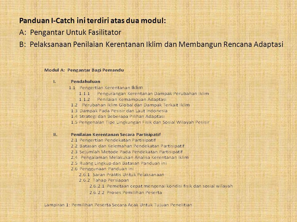 Panduan I-Catch ini terdiri atas dua modul: A: Pengantar Untuk Fasilitator B: Pelaksanaan Penilaian Kerentanan Iklim dan Membangun Rencana Adaptasi