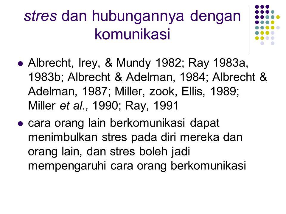 stres dan hubungannya dengan komunikasi Albrecht, Irey, & Mundy 1982; Ray 1983a, 1983b; Albrecht & Adelman, 1984; Albrecht & Adelman, 1987; Miller, zook, Ellis, 1989; Miller et al., 1990; Ray, 1991 cara orang lain berkomunikasi dapat menimbulkan stres pada diri mereka dan orang lain, dan stres boleh jadi mempengaruhi cara orang berkomunikasi