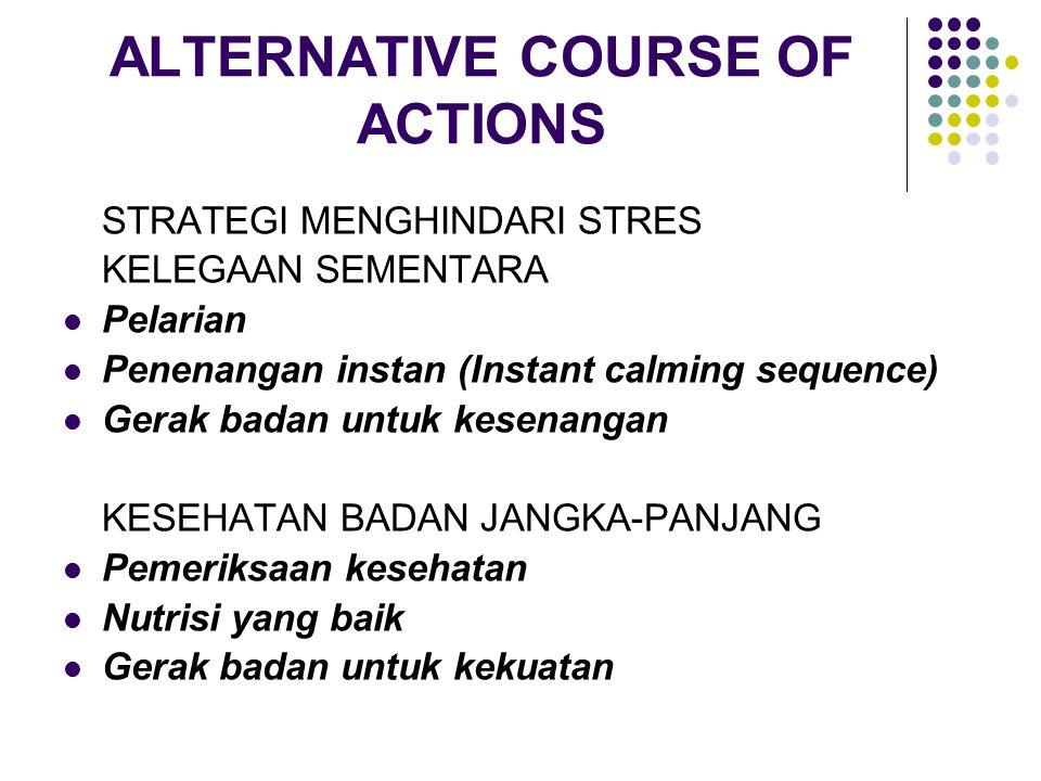 ALTERNATIVE COURSE OF ACTIONS STRATEGI MENGHINDARI STRES KELEGAAN SEMENTARA Pelarian Penenangan instan (Instant calming sequence) Gerak badan untuk ke