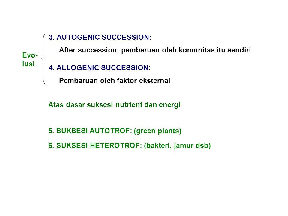 Atas dasar suksesi nutrient dan energi 5.SUKSESI AUTOTROF: (green plants) 6.
