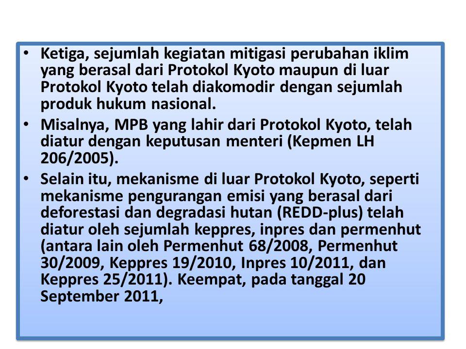 Dengan disahkannya UU 17/2004, maka Indonesia secara hukum telah mendukung upaya pencapaian komitmen hukum negara maju dalam penurunan emisinya, terutama dengan kerjasama mitigasi yang dinamakan Mekanisme Pembangunan Bersih (MPB).