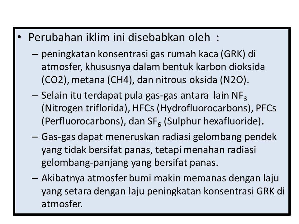 Perubahan iklim ini disebabkan oleh : – peningkatan konsentrasi gas rumah kaca (GRK) di atmosfer, khususnya dalam bentuk karbon dioksida (CO2), metana (CH4), dan nitrous oksida (N2O).