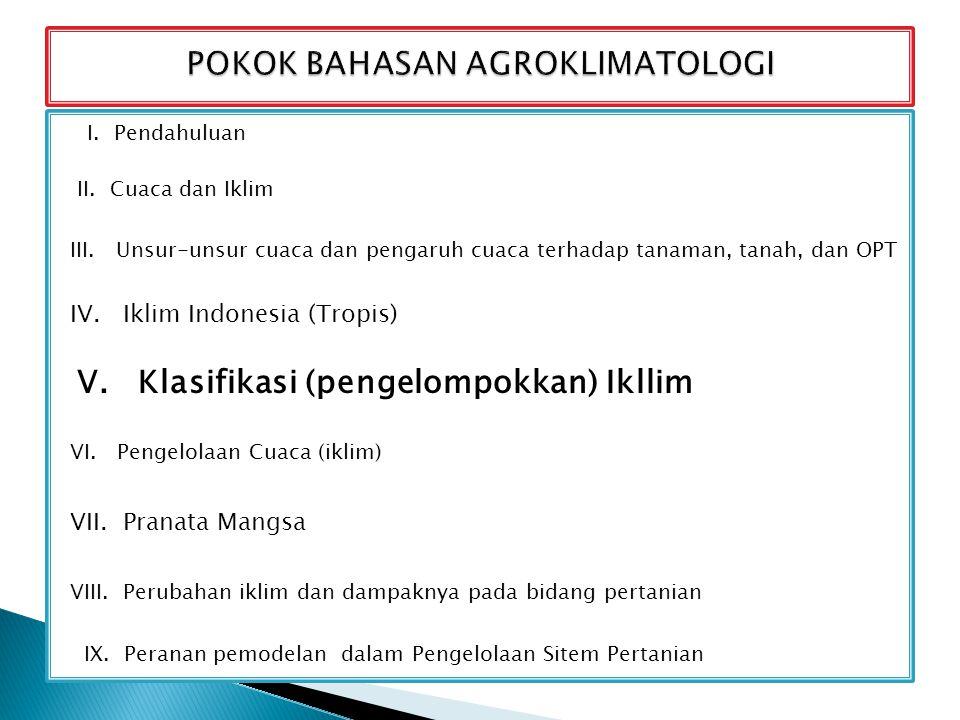 I. Pendahuluan II. Cuaca dan Iklim III. Unsur-unsur cuaca dan pengaruh cuaca terhadap tanaman, tanah, dan OPT IV. Iklim Indonesia (Tropis) V. Klasifik