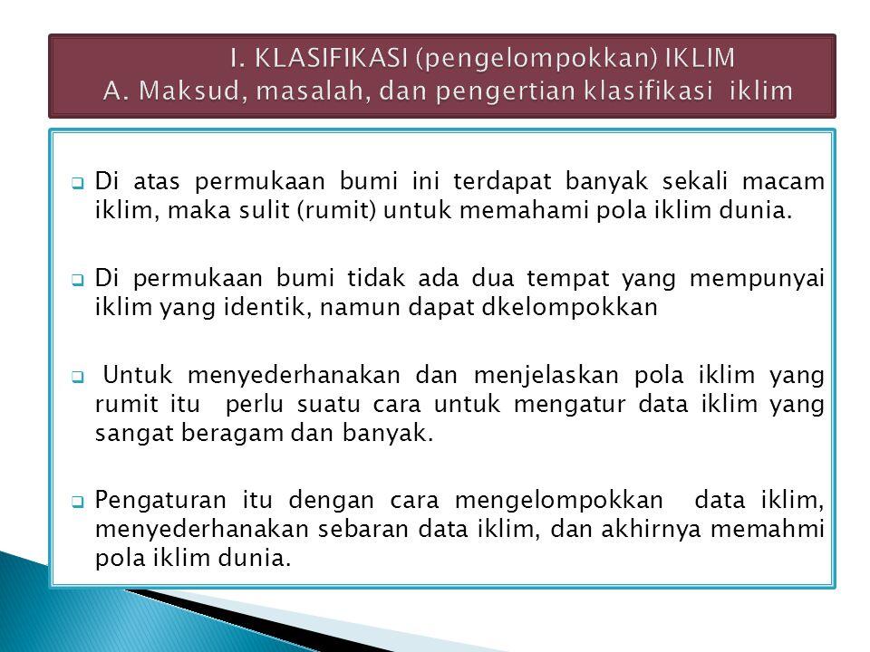 Modifikasi dari pengelompokkan iklim Mohr Di Indonesia sangat terkenal, lebih teliti dr pada cara Kopen.