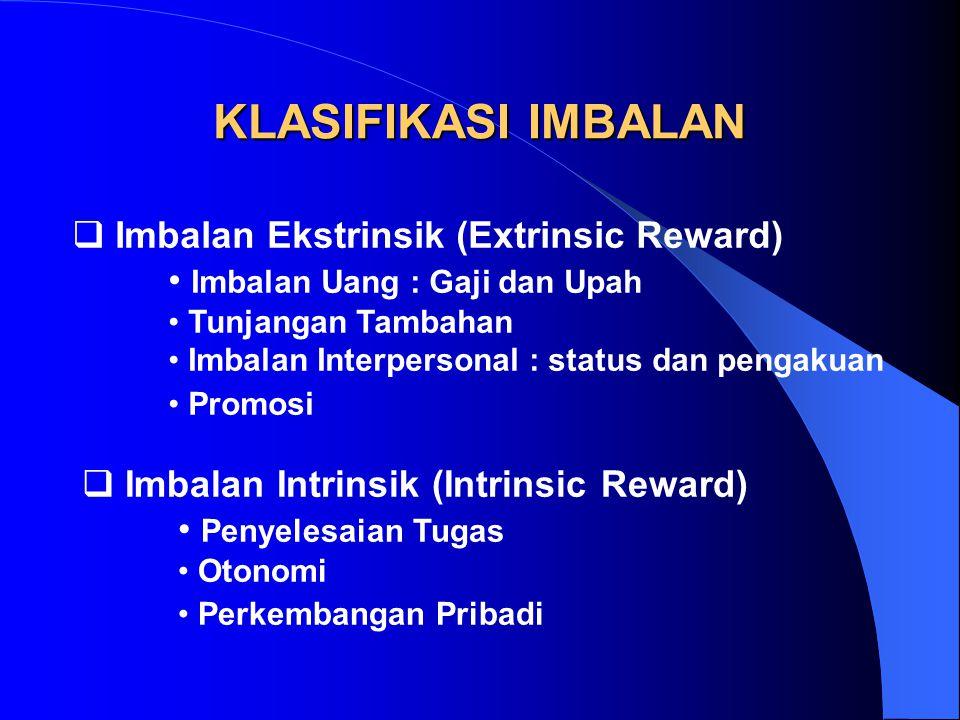 KLASIFIKASI IMBALAN  Imbalan Ekstrinsik (Extrinsic Reward) Imbalan Uang : Gaji dan Upah Tunjangan Tambahan Imbalan Interpersonal : status dan pengaku