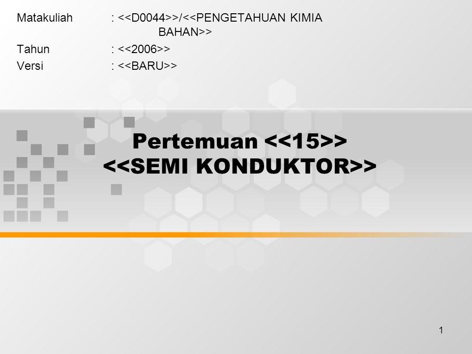 12 Semikonduktor Ekstrinsik Semikonduktor ekstrinsik dibuat dengan menambahkan sejumlah kecil atom-atom impuritas (disebut doping); Konduktifitas semikonduktor ekstrinsik tergantung pada jumlah impuritas.