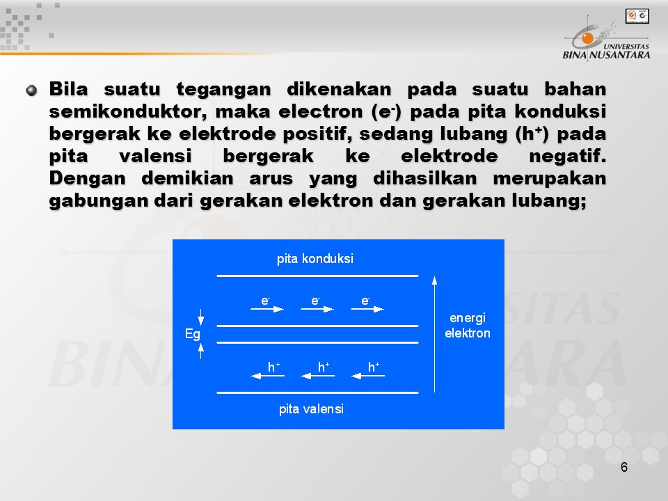 6 Bila suatu tegangan dikenakan pada suatu bahan semikonduktor, maka electron (e - ) pada pita konduksi bergerak ke elektrode positif, sedang lubang (