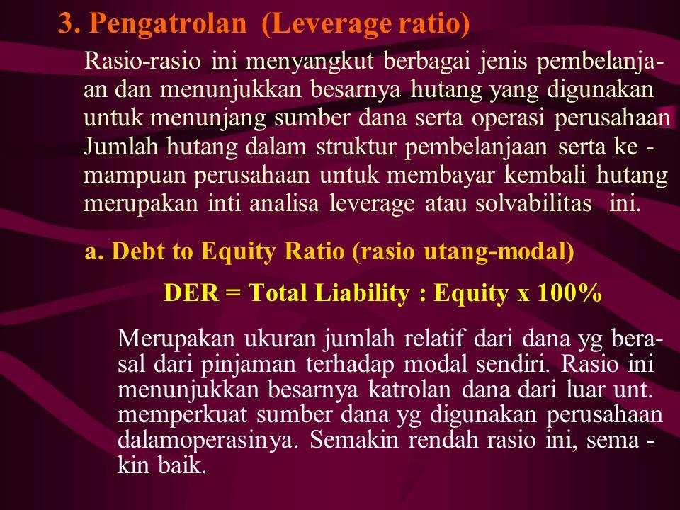 3. Pengatrolan (Leverage ratio) Rasio-rasio ini menyangkut berbagai jenis pembelanja- an dan menunjukkan besarnya hutang yang digunakan untuk menunjan