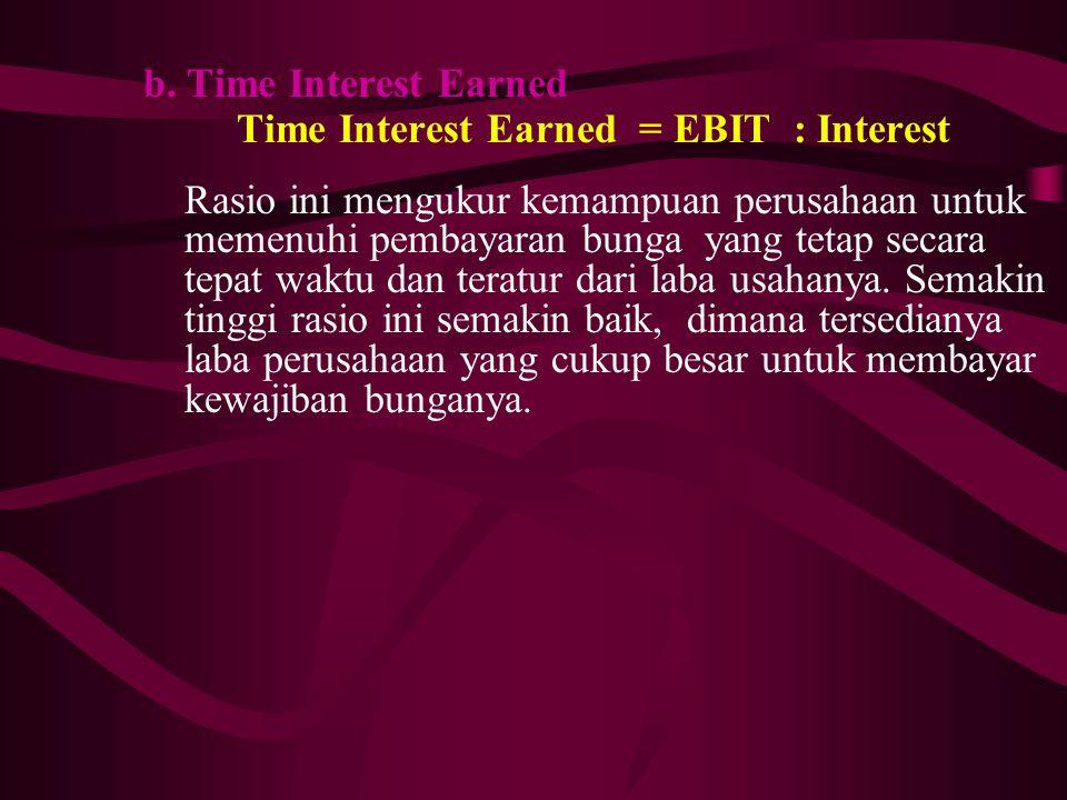 b. Time Interest Earned Time Interest Earned = EBIT : Interest Rasio ini mengukur kemampuan perusahaan untuk memenuhi pembayaran bunga yang tetap seca