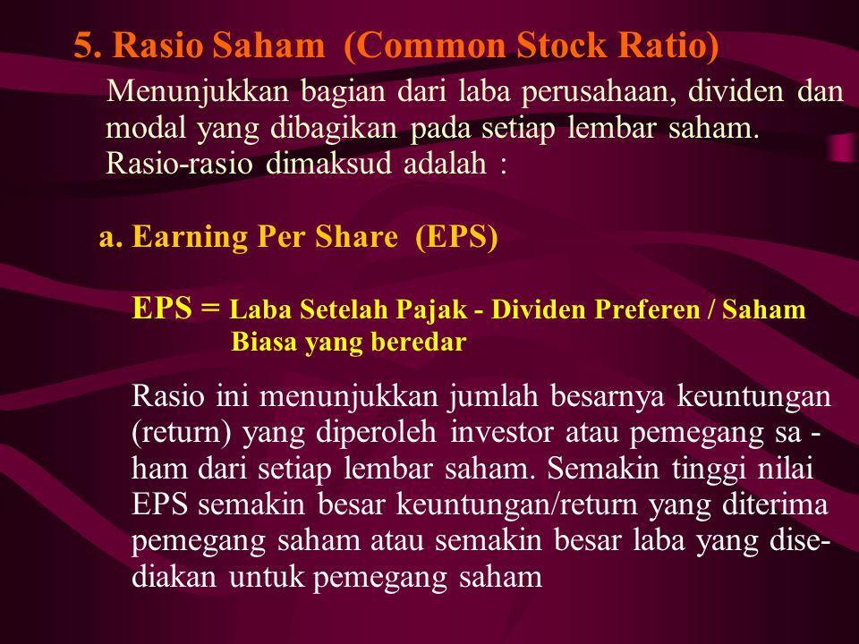 5. Rasio Saham (Common Stock Ratio) Menunjukkan bagian dari laba perusahaan, dividen dan modal yang dibagikan pada setiap lembar saham. Rasio-rasio di