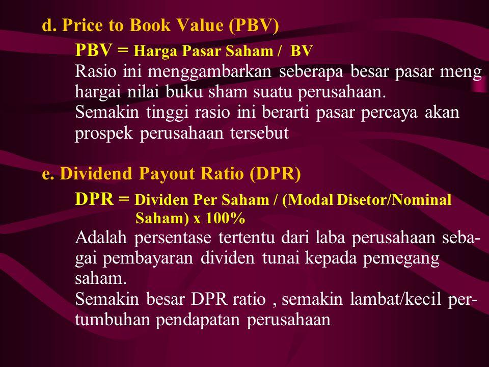 d. Price to Book Value (PBV) PBV = Harga Pasar Saham / BV Rasio ini menggambarkan seberapa besar pasar meng hargai nilai buku sham suatu perusahaan. S