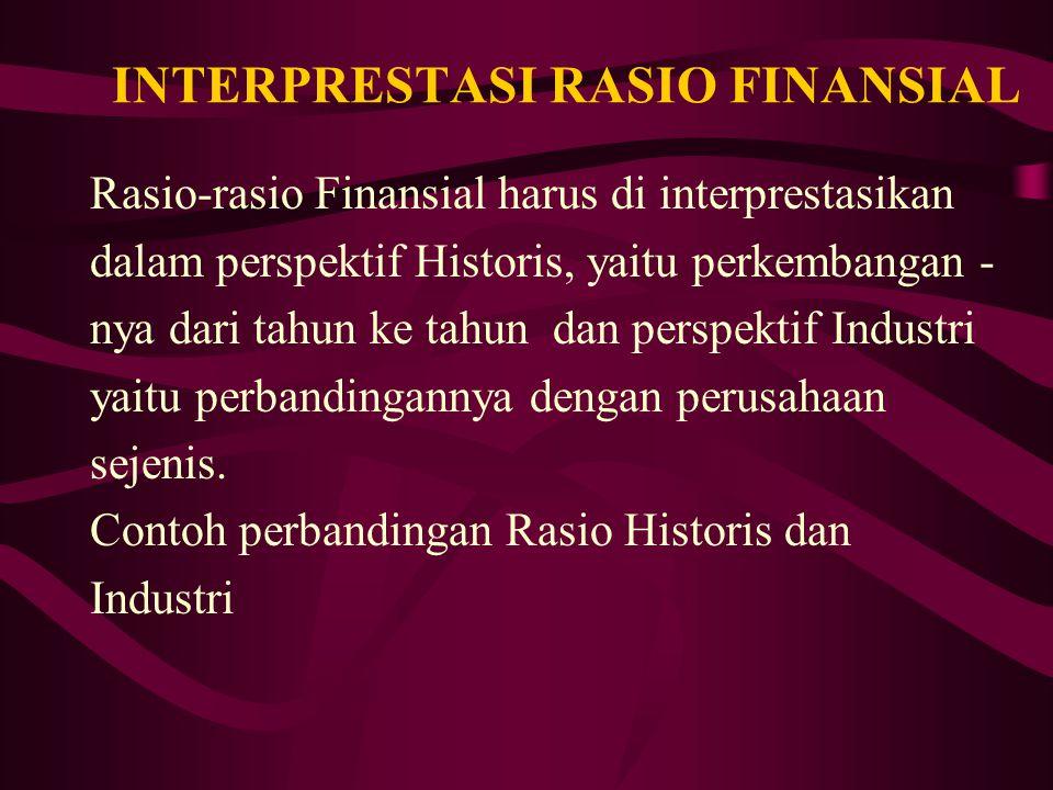 INTERPRESTASI RASIO FINANSIAL Rasio-rasio Finansial harus di interprestasikan dalam perspektif Historis, yaitu perkembangan - nya dari tahun ke tahun