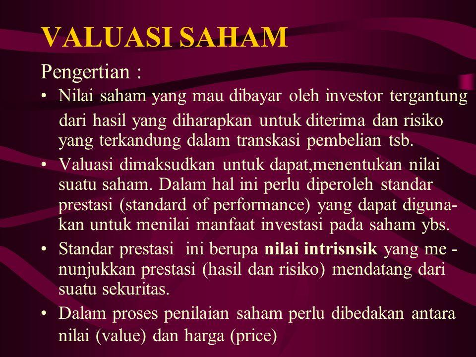 VALUASI SAHAM Pengertian : Nilai saham yang mau dibayar oleh investor tergantung dari hasil yang diharapkan untuk diterima dan risiko yang terkandung