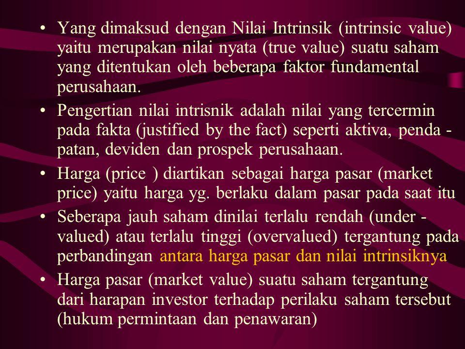 Yang dimaksud dengan Nilai Intrinsik (intrinsic value) yaitu merupakan nilai nyata (true value) suatu saham yang ditentukan oleh beberapa faktor funda