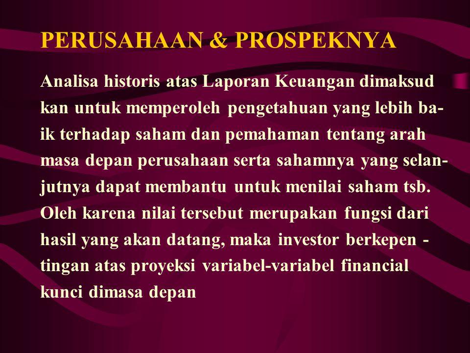 PERUSAHAAN & PROSPEKNYA Analisa historis atas Laporan Keuangan dimaksud kan untuk memperoleh pengetahuan yang lebih ba- ik terhadap saham dan pemahama