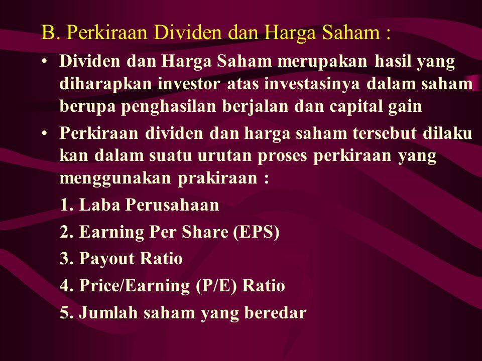 B. Perkiraan Dividen dan Harga Saham : Dividen dan Harga Saham merupakan hasil yang diharapkan investor atas investasinya dalam saham berupa penghasil