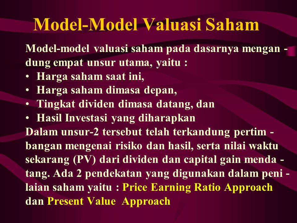 Model-Model Valuasi Saham Model-model valuasi saham pada dasarnya mengan - dung empat unsur utama, yaitu : Harga saham saat ini, Harga saham dimasa de