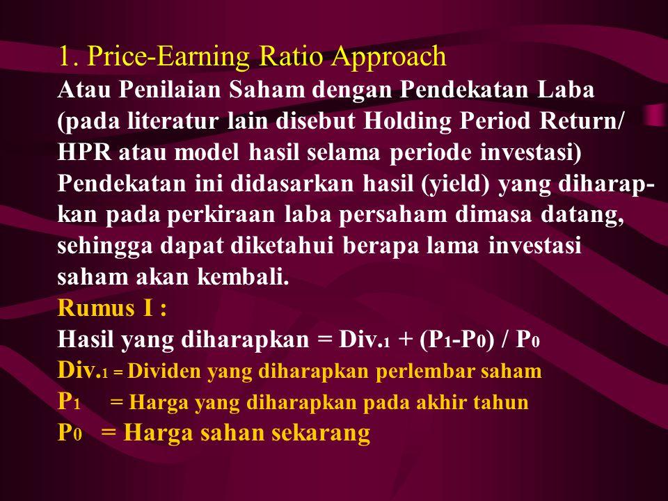 1. Price-Earning Ratio Approach Atau Penilaian Saham dengan Pendekatan Laba (pada literatur lain disebut Holding Period Return/ HPR atau model hasil s