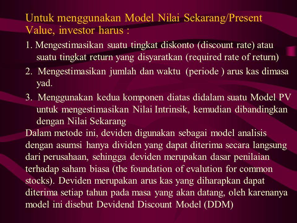 Untuk menggunakan Model Nilai Sekarang/Present Value, investor harus : 1. Mengestimasikan suatu tingkat diskonto (discount rate) atau suatu tingkat re