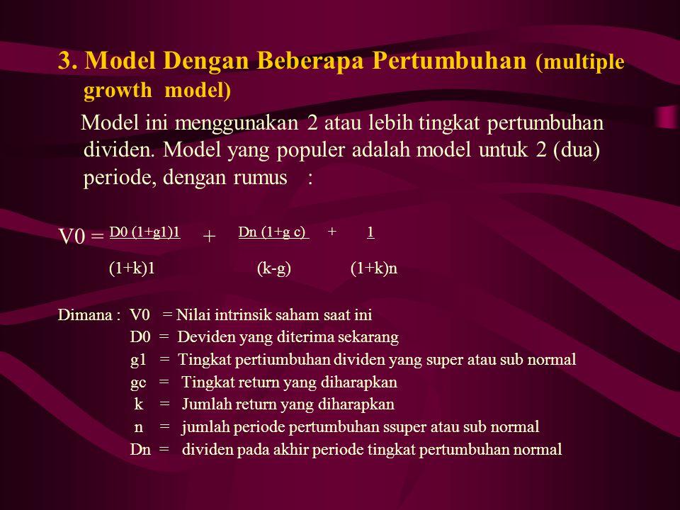 3. Model Dengan Beberapa Pertumbuhan (multiple growth model) Model ini menggunakan 2 atau lebih tingkat pertumbuhan dividen. Model yang populer adalah