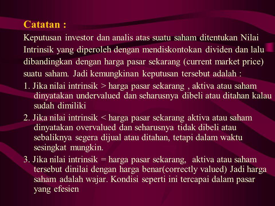 Catatan : Keputusan investor dan analis atas suatu saham ditentukan Nilai Intrinsik yang diperoleh dengan mendiskontokan dividen dan lalu dibandingkan
