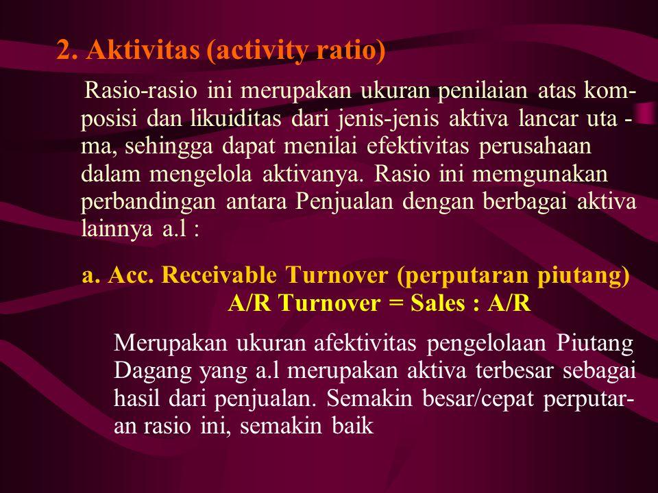 2. Aktivitas (activity ratio) Rasio-rasio ini merupakan ukuran penilaian atas kom- posisi dan likuiditas dari jenis-jenis aktiva lancar uta - ma, sehi