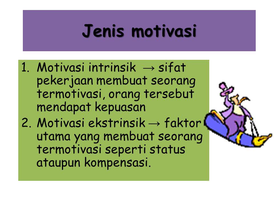 Jenis motivasi 1.Motivasi intrinsik → sifat pekerjaan membuat seorang termotivasi, orang tersebut mendapat kepuasan 2.Motivasi ekstrinsik → faktor utama yang membuat seorang termotivasi seperti status ataupun kompensasi.