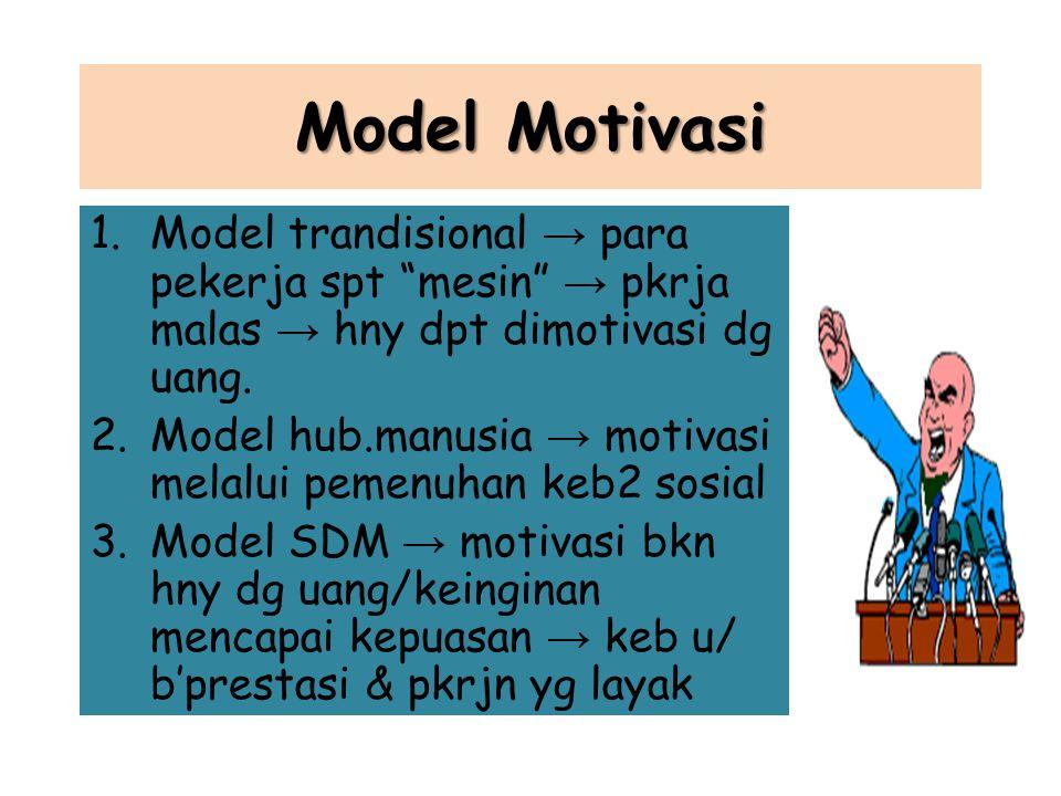Jenis motivasi 1.Motivasi intrinsik → sifat pekerjaan membuat seorang termotivasi, orang tersebut mendapat kepuasan 2.Motivasi ekstrinsik → faktor uta