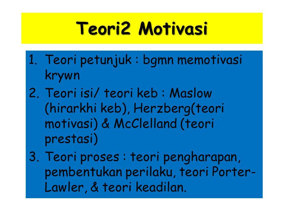 Teori2 Motivasi 1.Teori petunjuk : bgmn memotivasi krywn 2.Teori isi/ teori keb : Maslow (hirarkhi keb), Herzberg(teori motivasi) & McClelland (teori prestasi) 3.Teori proses : teori pengharapan, pembentukan perilaku, teori Porter- Lawler, & teori keadilan.