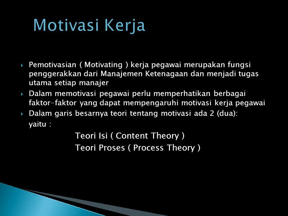  Pemotivasian ( Motivating ) kerja pegawai merupakan fungsi penggerakkan dari Manajemen Ketenagaan dan menjadi tugas utama setiap manajer  Dalam memotivasi pegawai perlu memperhatikan berbagai faktor-faktor yang dapat mempengaruhi motivasi kerja pegawai  Dalam garis besarnya teori tentang motivasi ada 2 (dua): yaitu : Teori Isi ( Content Theory ) Teori Proses ( Process Theory )
