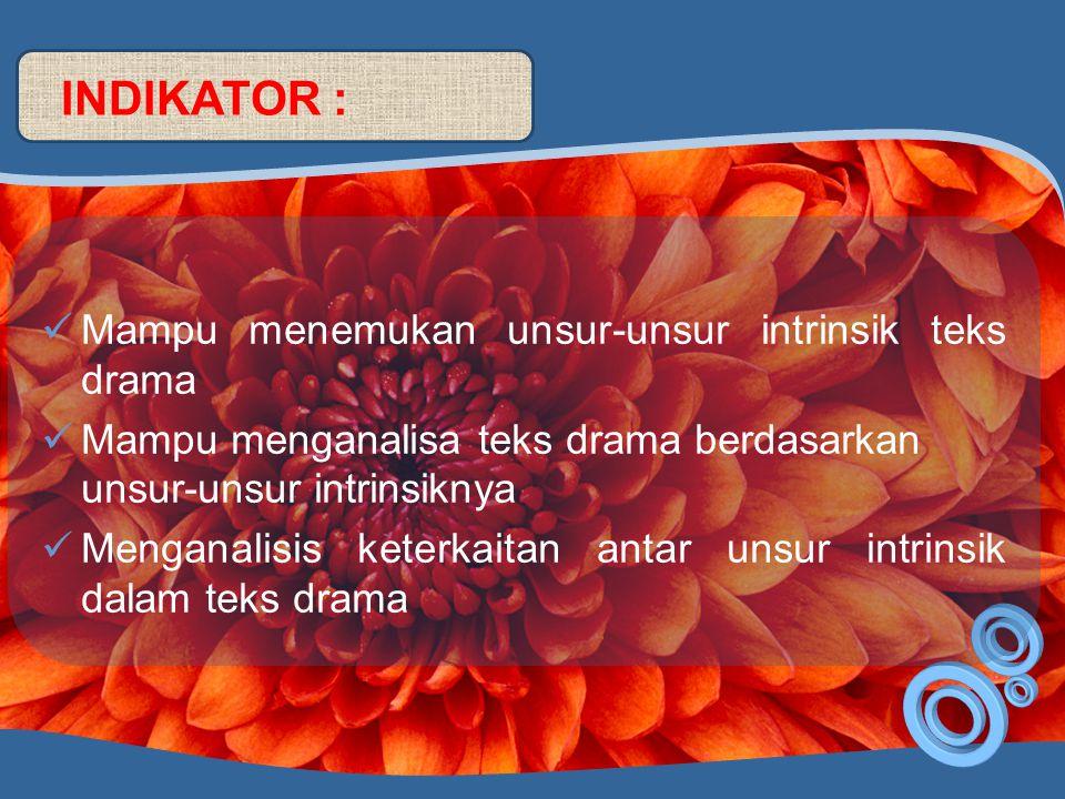 TUJUAN PEMBELAJARAN: Siswa mampu menemukan dan menganalisis unsur-unsur teks drama