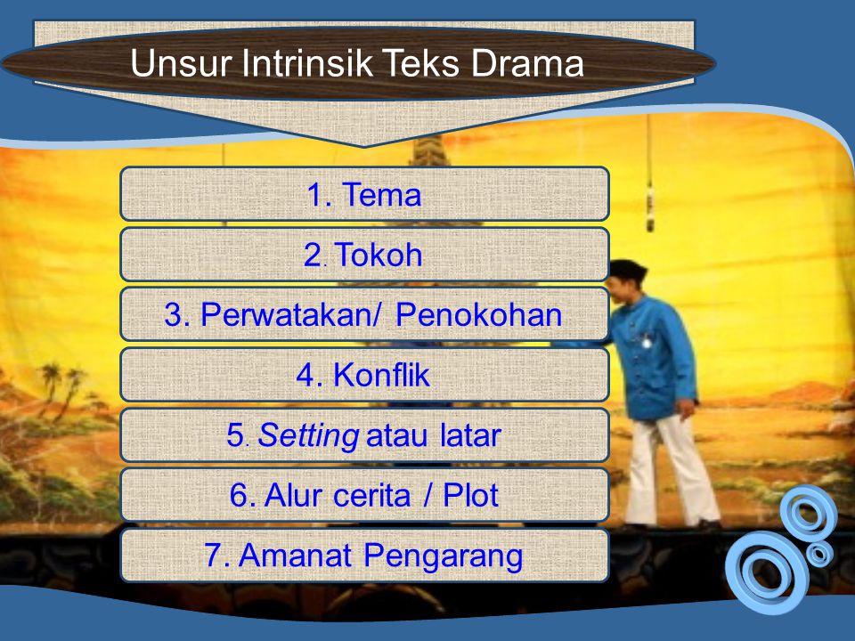 Unsur Intrinsik Teks Drama 1. Tema 2. Tokoh 3. Perwatakan/ Penokohan 4. Konflik 5. Setting atau latar 6. Alur cerita / Plot 7. Amanat Pengarang