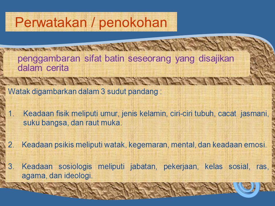 penggambaran sifat batin seseorang yang disajikan dalam cerita Perwatakan / penokohan Watak digambarkan dalam 3 sudut pandang : 1.Keadaan fisik melipu