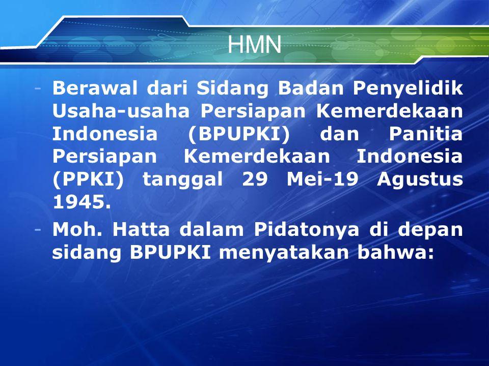 HMN -Berawal dari Sidang Badan Penyelidik Usaha-usaha Persiapan Kemerdekaan Indonesia (BPUPKI) dan Panitia Persiapan Kemerdekaan Indonesia (PPKI) tanggal 29 Mei-19 Agustus 1945.