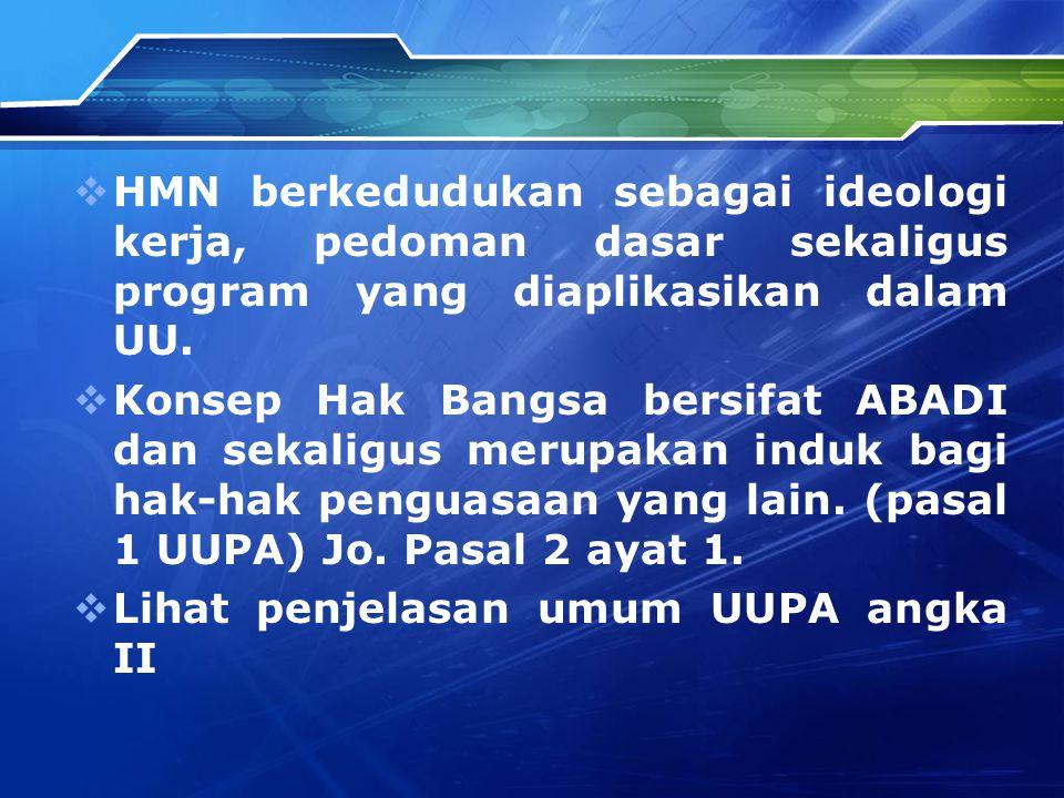  HMN berkedudukan sebagai ideologi kerja, pedoman dasar sekaligus program yang diaplikasikan dalam UU.  Konsep Hak Bangsa bersifat ABADI dan sekalig