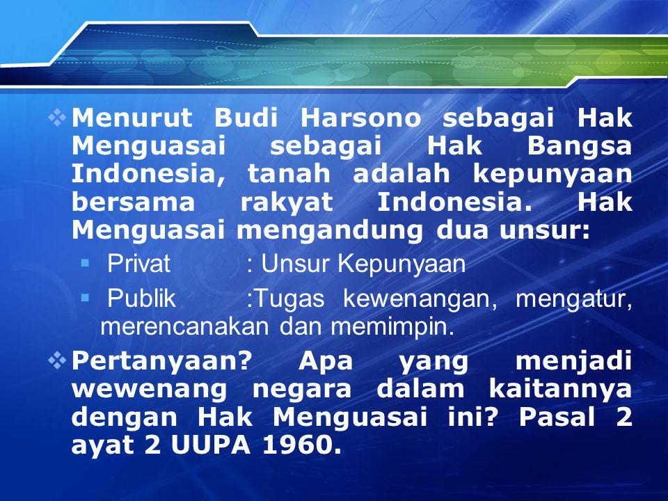  Menurut Budi Harsono sebagai Hak Menguasai sebagai Hak Bangsa Indonesia, tanah adalah kepunyaan bersama rakyat Indonesia. Hak Menguasai mengandung d