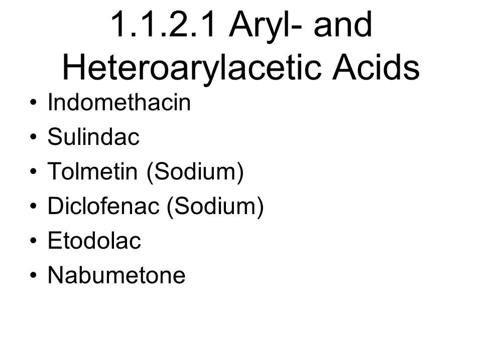 1.1.2.1 Aryl- and Heteroarylacetic Acids Indomethacin Sulindac Tolmetin (Sodium) Diclofenac (Sodium) Etodolac Nabumetone