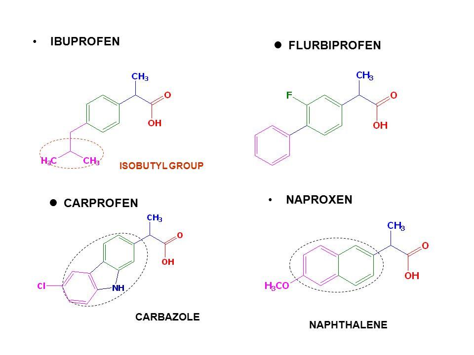 IBUPROFEN ISOBUTYL GROUP FLURBIPROFEN CARBAZOLE CARPROFEN NAPHTHALENE NAPROXEN