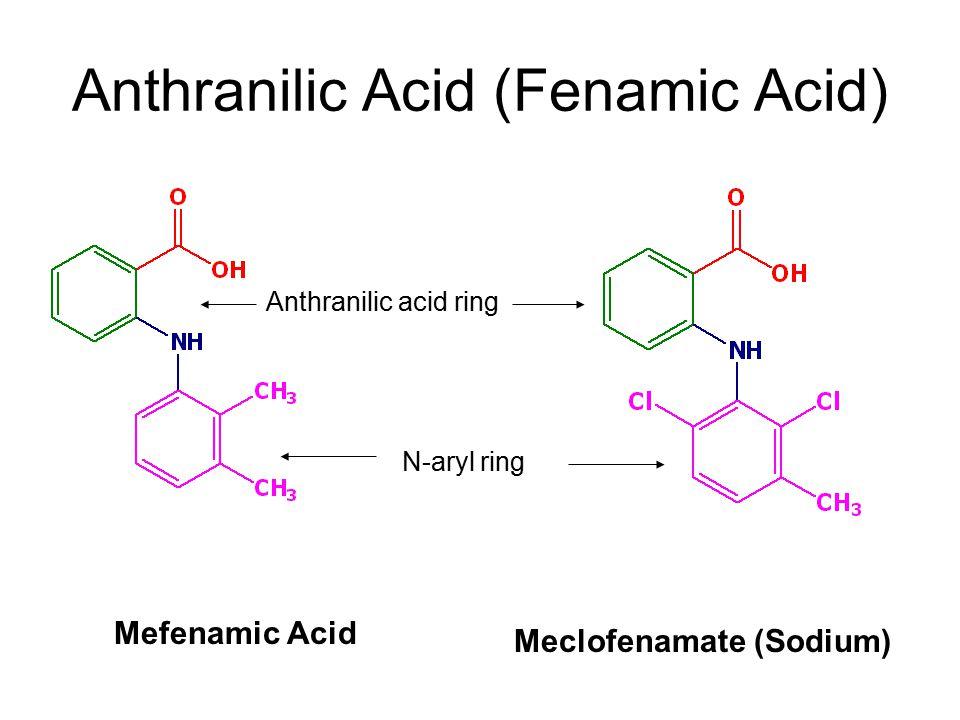 Mefenamic Acid Meclofenamate (Sodium) Anthranilic Acid (Fenamic Acid) N-aryl ring Anthranilic acid ring