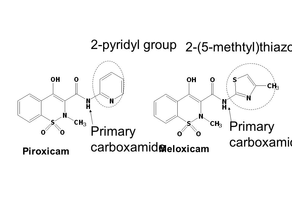 Piroxicam Meloxicam Primary carboxamide Primary carboxamide 2-pyridyl group 2-(5-methtyl)thiazolyl group