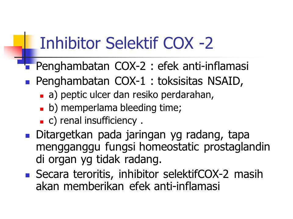 Inhibitor Selektif COX -2 Penghambatan COX-2 : efek anti-inflamasi Penghambatan COX-1 : toksisitas NSAID, a) peptic ulcer dan resiko perdarahan, b) me