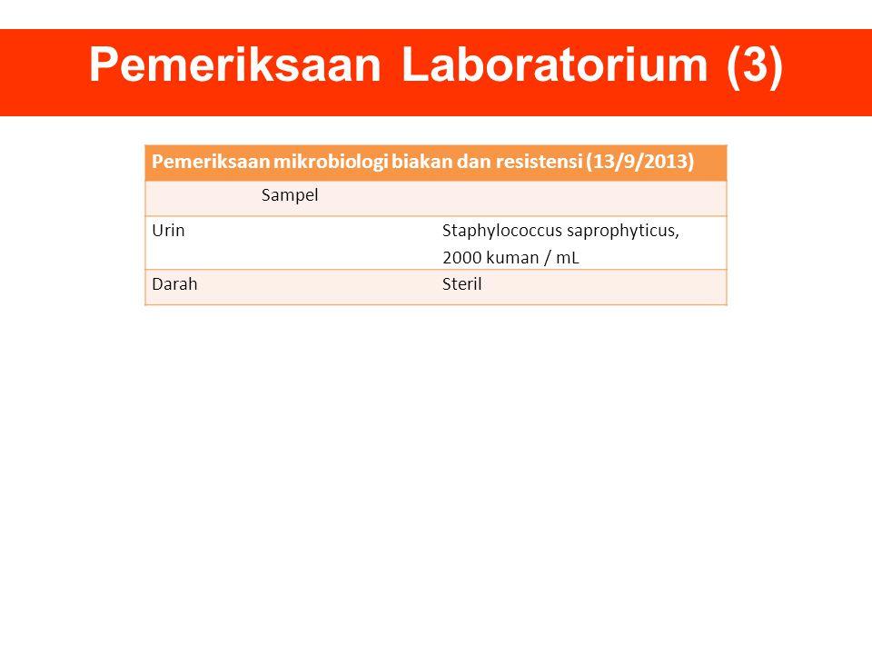 Pemeriksaan Laboratorium (3) Pemeriksaan mikrobiologi biakan dan resistensi (13/9/2013) Sampel Urin Staphylococcus saprophyticus, 2000 kuman / mL Dara