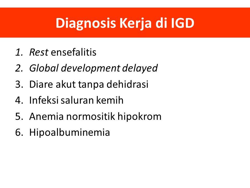 1.Rest ensefalitis 2.Global development delayed 3.Diare akut tanpa dehidrasi 4.Infeksi saluran kemih 5.Anemia normositik hipokrom 6.Hipoalbuminemia Di