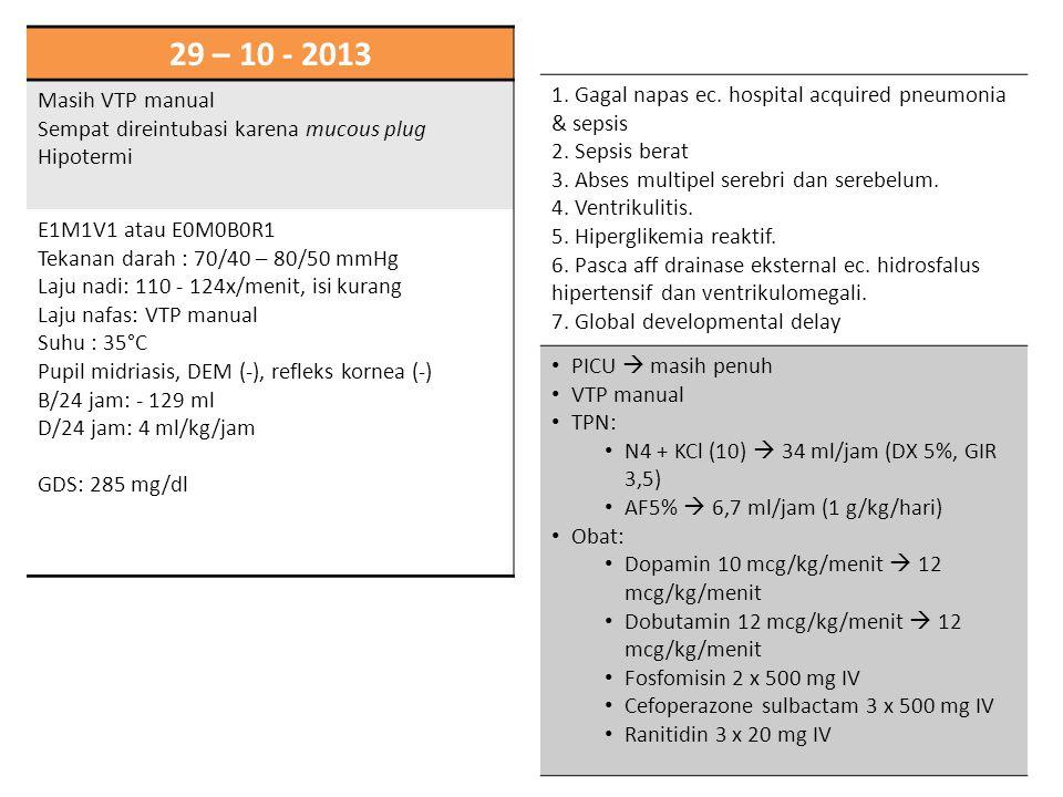 29 – 10 - 2013 Masih VTP manual Sempat direintubasi karena mucous plug Hipotermi E1M1V1 atau E0M0B0R1 Tekanan darah : 70/40 – 80/50 mmHg Laju nadi: 11